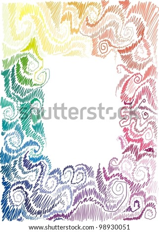 frame with floral motif, scrolls, wave, hand-drawn - stock vector