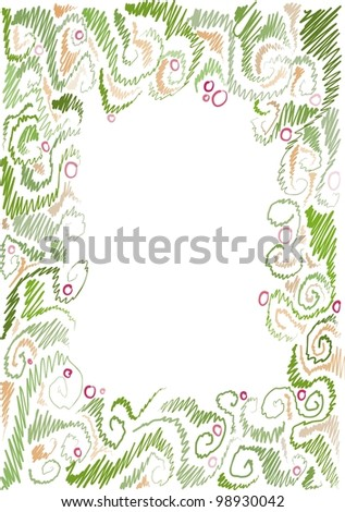 frame with floral pattern, floral motifs, hand-drawn
