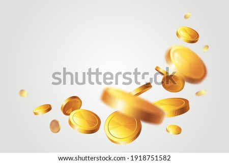 Frame with gold coins on light background. Rain of money. Jackpot or success concept. Illustration with place for text. Foto d'archivio ©