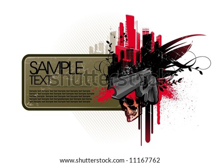 Frame with gun - stock vector