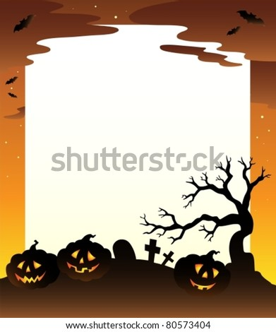 Frame with Halloween scenery 1 - vector illustration.