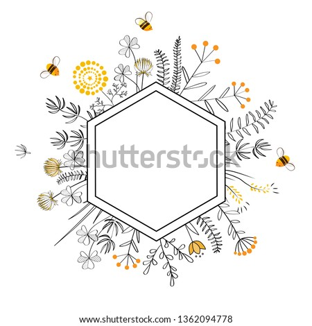 Frame with honey flowers and bees. Cartoon vector illustration Stock photo ©