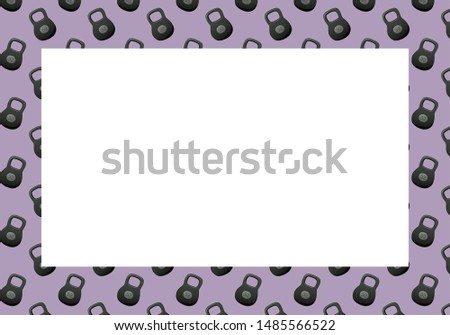 Frame with kettlebells on a purple background