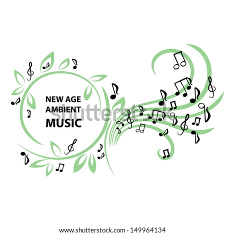 Frame with leaves and notes - new age music