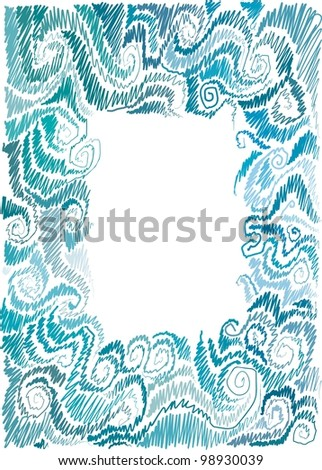 frame with marine motif, scrolls, wave, hand-drawn