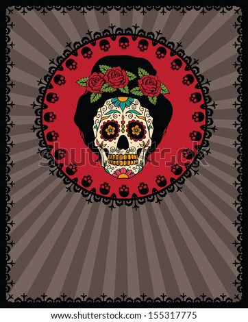 frame with mexican skull girl