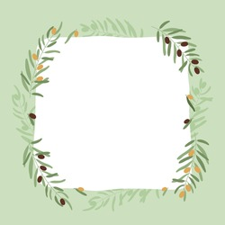 Frame with olive branches. Card with copy space, blank poster, print template with twigs and fruits. Vintage vector illustration on green color.