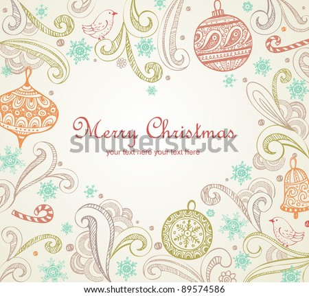 Frame with place for your text in heart shape. Elegant Christmas card.
