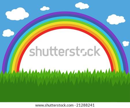 Frame with rainbow, sky and grass