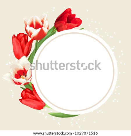 frame with red and white tulips