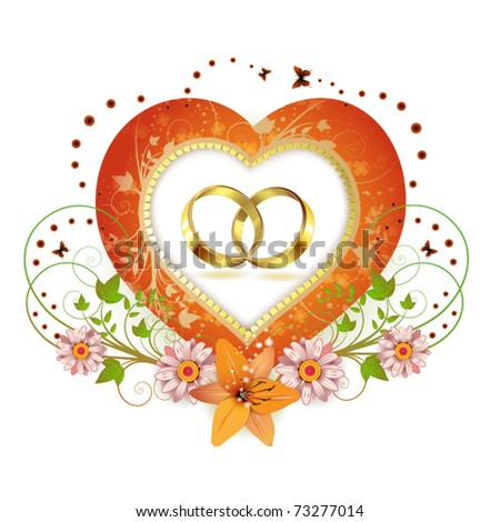 Frame with shape heart and two wedding ring, decorated flowers isolated on white background