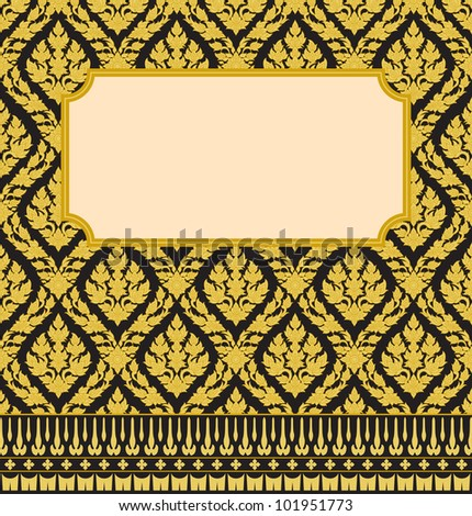 Frame with Thai art wall pattern background