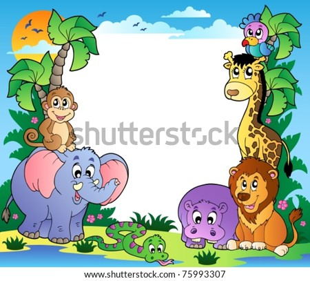 Frame with tropical animals 2 - vector illustration.