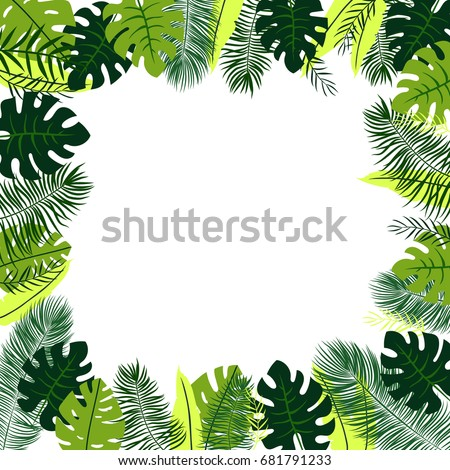 Frame with tropical leaves #681791233
