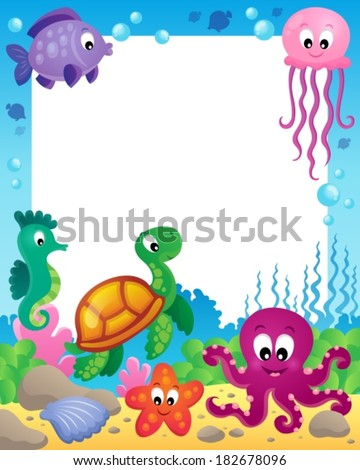 Frame with underwater animals 3 - eps10 vector illustration.