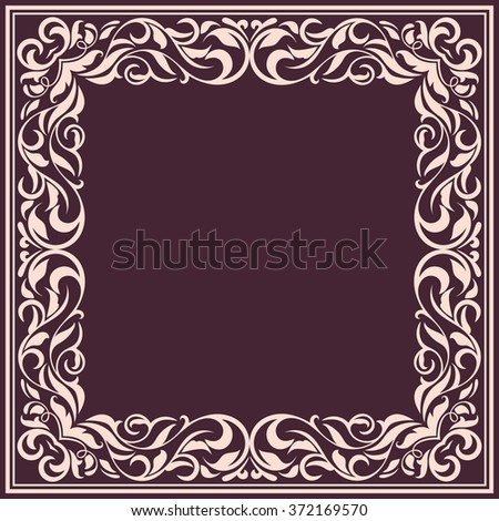 Frame with vintage pattern.Background with floral design.