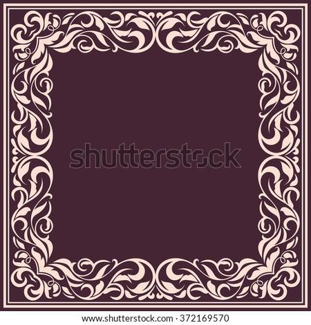 Frame with vintage pattern.Background with floral design.
