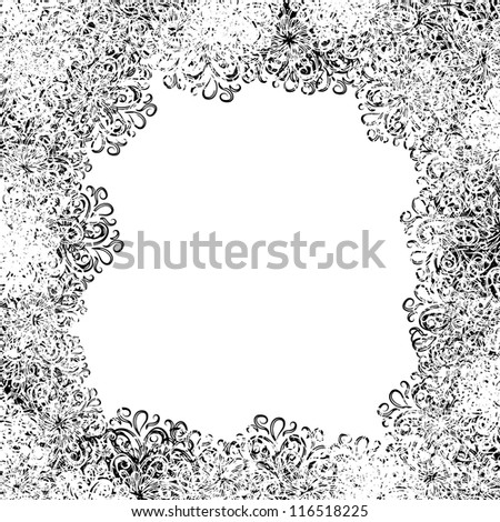 frame with winter snowflakes  for your design - stock vector