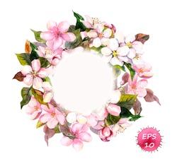 Frame wreath with cherry, apple, almond flowers blossom (sakura). Watercolor vector