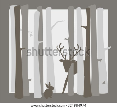 framed forest scene with deer