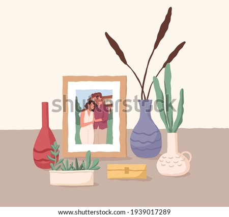Framed photo of love couple. Family portrait of man and woman. Picture of husband and wife. Colored flat vector illustration of girlfriend and boyfriend memorable photography on desk
