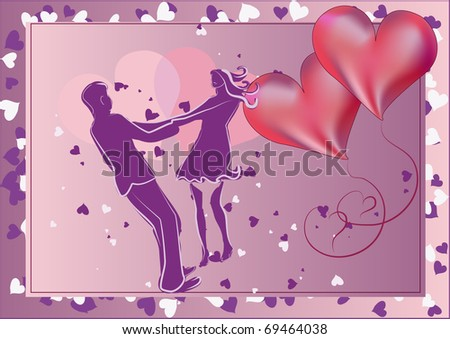 Framed picture of stylized falled in love man and woman dancing holding each other by the hands with two hearts near them.