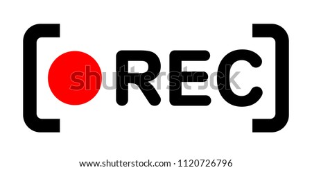 Framed recording sign, currently recording, rec, vector illustration icon Photo stock ©