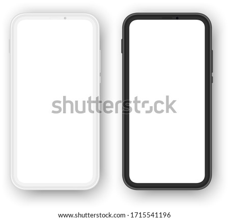 frameless smartphones mockups, white and black versions. blank screen for your content.
