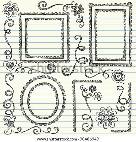 Frames and Borders Hand-Drawn Sketchy Scalloped Notebook Doodles Ornamental Set- Vector Illustration Design Elements on Lined Sketchbook Paper Background