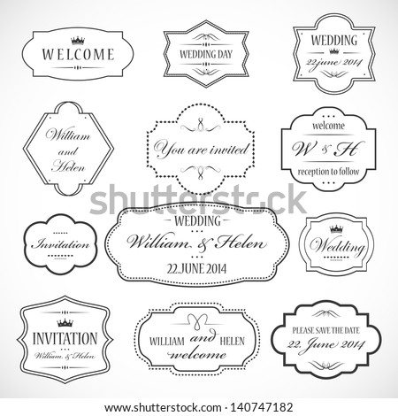 Frames And Ornaments Set Isolated On Gray Background Vector Illustration Graphic Design Editable For Your Design Logo Symbols
