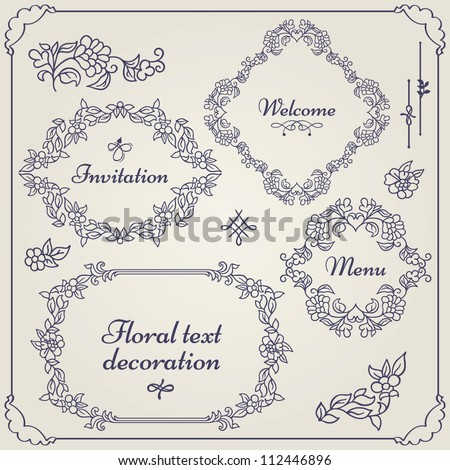 Frames, borders, dividers, corners, bars and swirls. Vector set of calligraphic floral text decoration and ornamental decor design elements for your layout. - stock vector