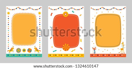 Frames, borders set for baby's photo album, invitation, or postcard with cute circus elements in cartoon style and horse, mouse on bike, giraffe, balls, garland. Vector illustration