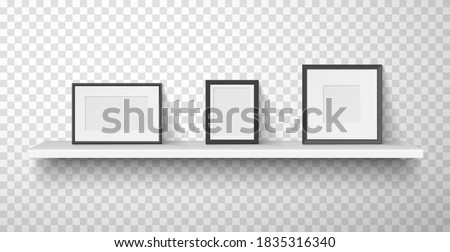 Frames for photo, picture with white and black borders are on wall shelf. Passepartout horizontal, vertical, square empty blank mockups.Vector realistic photo frames isolated on transparent. Photo stock ©
