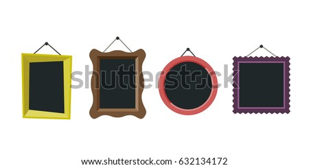 Shutterstock Frames hanging on the wall in flat style.