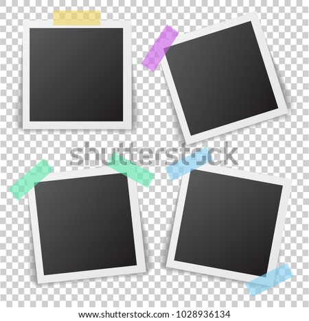 Frames of photo with shadow pin on sticky tape. Realistic empty square black and white photo snapshot isolated on transparent background. Vector frame of picture for your design