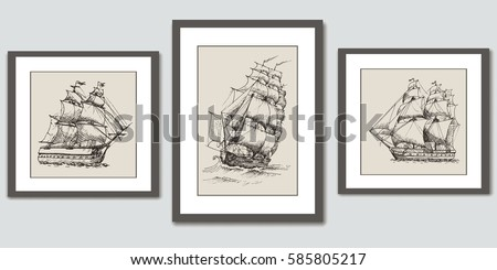 frames on wall vector hand
