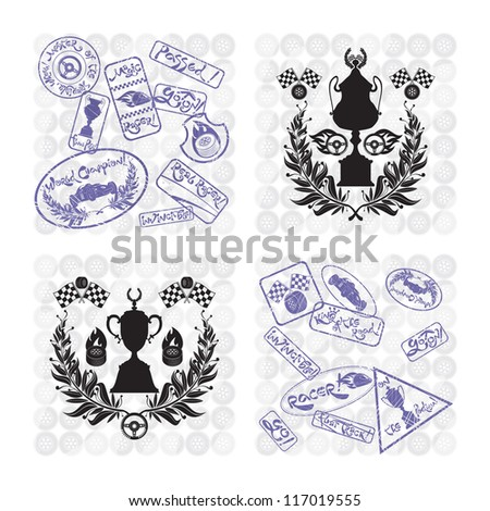 Frames racing sets with stamps, vector