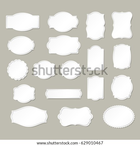 Frames white silhouettes collection isolated on background.
