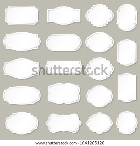 Frames white silhouettes collection with shadow, isolated on background.