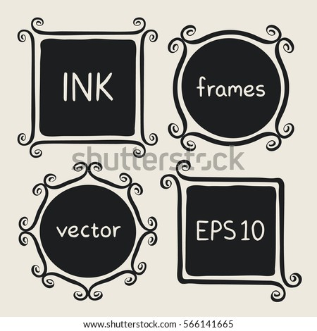 Frames with whimsical swashes. Elements for baby shower, wedding invitations, scrapbook. Cute hand made set painted with ink brush. Hand drawn doodle picture frames. Doodle vector illustration.