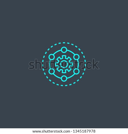 Framework concept blue line icon. Simple thin element on dark background. Framework concept outline symbol design. Can be used for web and mobile UI/UX