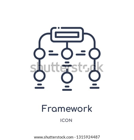 framework icon from shapes outline collection. Thin line framework icon isolated on white background.