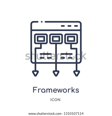 frameworks icon from technology outline collection. Thin line frameworks icon isolated on white background.