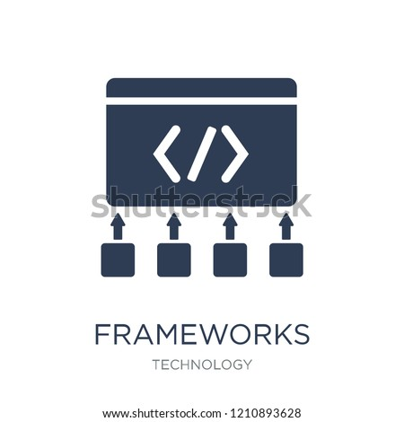 Frameworks icon. Trendy flat vector Frameworks icon on white background from Technology collection, vector illustration can be use for web and mobile, eps10