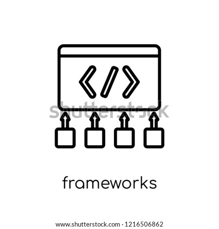 Frameworks icon. Trendy modern flat linear vector Frameworks icon on white background from thin line Technology collection, editable outline stroke vector illustration