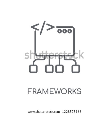 Frameworks linear icon. Modern outline Frameworks logo concept on white background from Technology collection. Suitable for use on web apps, mobile apps and print media.
