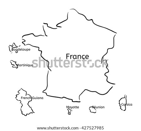 France and franch territory hand-drawn sketch map