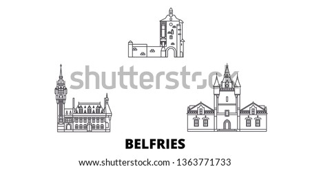 France, Belfries line travel skyline set. France, Belfries outline city vector illustration, symbol, travel sights, landmarks. Сток-фото ©