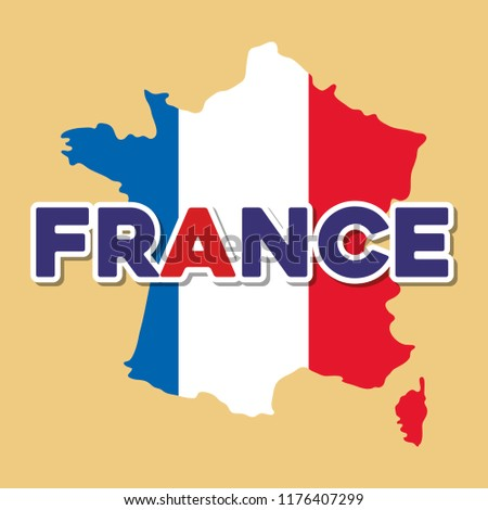 france culture card with flag and map