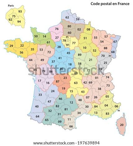 france 2 digit postcodes map
